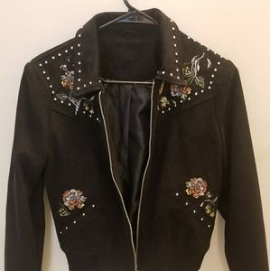 River Island black floral suede look jacket